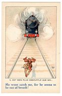 Carte Illustrée Illustrateur Mich Lièvre Devant Un Train Locomotive à Vapeur éd SID Animaux Nos Frères N°7047 - Mich