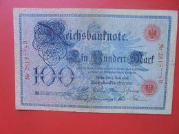 Reichsbanknote 100 MARK 1898 (DATE +RARE) CIRCULER (B.15) - [ 2] 1871-1918 : Impero Tedesco