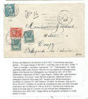 GANDON 8FR TURQUOISE SEUL LETTRE COLLONGES HTE SAVOIE + DAGUIN 27.8.1951 POUR COUPY AIN TAXE 10FR+2FRX2 - 1945-54 Marianne Of Gandon