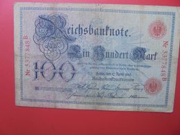 Reichsbanknote 100 MARK 1903 (DATE +RARE) CIRCULER (B.15) - [ 2] 1871-1918 : Impero Tedesco