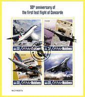 Bloc Feuillet Oblitéré De 4 Timbres-poste - 50e Anniversaire Du Premier Vol D'essai De Concorde - Maldives 2019 - Maldives (1965-...)