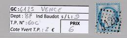GC 4125 + Vence ( Dept 87 ) S / N° 60C - Marcophilie (Timbres Détachés)
