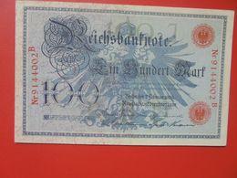 Reichsbanknote 100 MARK 1908 SIGLE ROUGE CIRCULER (B.14) - [ 2] 1871-1918 : Impero Tedesco