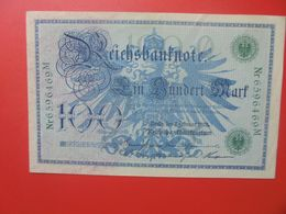 Reichsbanknote 100 MARK 1908 SIGLE VERT CIRCULER (B.14) - [ 2] 1871-1918 : German Empire