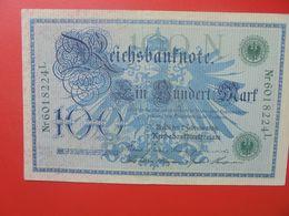 Reichsbanknote 100 MARK 1908 SIGLE VERT CIRCULER (B.14) - [ 2] 1871-1918 : Impero Tedesco
