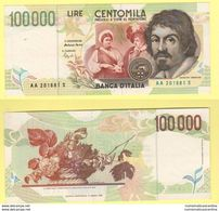 100000 Lire 1994 Italia Italie Banconota Caravaggio II° Tipo - [ 2] 1946-… : Républic
