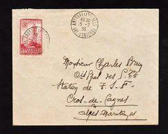 ANDORRE: Timbre N° 35 Obl. Andorre La Vieille En 1933, Seul Sur Lettre. Au Verso Cachet Bleu: Bureau Français....... - Lettres & Documents