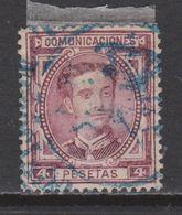 1876 ALFONSO XII 4 PTS. BONITO MATASELLOS AZUL. +100 €. VER - Usados
