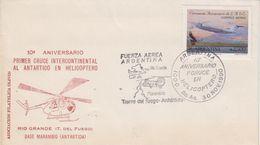 Argentina 1990 10th Ann. Primer Cruce Intercont. Al Antartico En Helicoptero Cover (48308) - Polar Flights