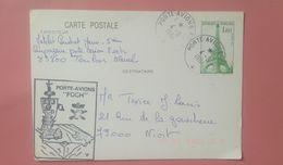 PORTE AVIONS FOCH - 1984 - ENTIER POSTAL 1,60 Vert Tour Eiffel 82 - Marcofilie (Brieven)