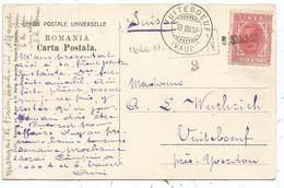 ROMANIA 10 BANI SOLO CARD SINAIA 1907 TO SUISSE - 1881-1918: Carol I.