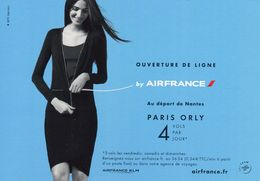 AIR FRANCE NANTES-PARIS-ORLY -CARTE PUBLICITAIRE -TRES BON ETAT -REF CP1-3A - Inaugurations