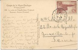 CARTE POSTALE 1939 AVEC CACHET ONDULE TULLE GARE CORREZE - Marcophilie (Lettres)