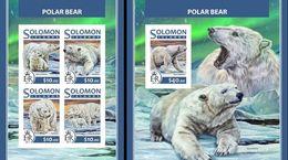 Salomon 2017, Animals, Polar Bears, 4val In BF +BF IMPERFORATED - Arctic Wildlife