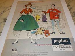 ANCIENNE  PUBLICITE EQUIPEZ VOUS POPLON  NYLON DE NYLFRANCE 1958 - Vintage Clothes & Linen