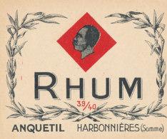 1173 / ETIQUETTE -   RHUM  ANQUETIL HARBONNIERES SOMME - Rhum
