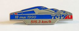 Pin's SNCF Train TGV Record 515.3 Km/h 18 Mai 1990 émaillé à Froid Fab. DECAT - TGV