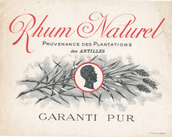 1188 / ETIQUETTE -   RHUM  NATUREL  DES ANTILLES   GARANTI    PUR L    N° 8258 - Rhum