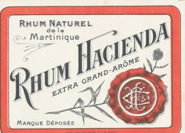 1189 / ETIQUETTE -   RHUM  DE MARTINIQUE   HACIENDA - Rhum