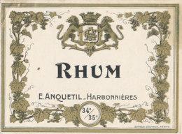 1192 / ETIQUETTE -   RHUM  - E. ANQUETIL  HARBONNIERES - Rhum
