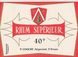 1198 / ETIQUETTE -   RHUM  - SUPERIEUR  P. COOCHE   NEGOCIANT ST SIMON - Rhum