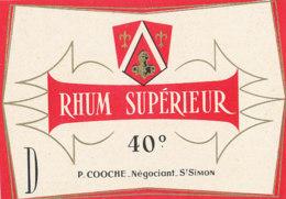 1199 / ETIQUETTE -   RHUM  - SUPERIEUR  P. COOCHE   NEGOCIANT ST SIMON - Rhum