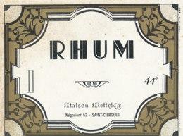 1201 / ETIQUETTE -   RHUM  - MAISON  METTRIER  NEGOCIANT   SAINT CIERGUES . - Rhum