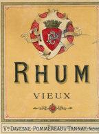 1203 / ETIQUETTE -   RHUM  - VIEUX    Vve  DAVESNE - POMMEREAU A TANNAT  NIEVRE - Rhum