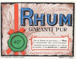 1205 / ETIQUETTE -   RHUM  -  GARANTI PUR   CAVES REUNIES DE PENTHIEVRE  LAMBALLE - Rhum