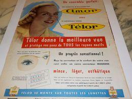 ANCIENNE   PUBLICITE UN EMSEMBLE PARFAIT LUNETTE  TELOR  AMOR 1958 - Vintage Clothes & Linen