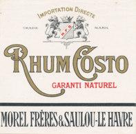 1210 / ETIQUETTE -   RHUM   - COSTO  MOREL FRERES & SAULOU- LE HAVRE - Rhum