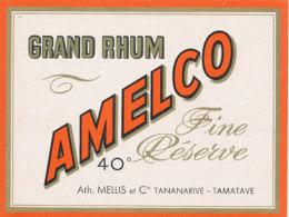 1217 / ETIQUETTE -   RHUM   - GRAND RHUM AMELCO   FINE RESERVE ATH. MELLIS ET Cie TANANARIVE  -TAMATAVE - Rhum