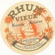 1219 / ETIQUETTE -   RHUM   - VIEUX  GRANDE RESERVE  BARBET & FOURNIER  BORDEAUX - Rhum