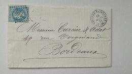 LETTRE St Genis De Saintonge Pour Bordeaux 1869 - Obl. 3615 - Marcofilie (Brieven)