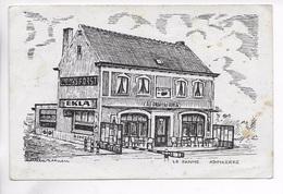 CPA BELGIQUE LA PANNE ADINKERKE RENE BLONDEEL Café AU DRAPEAU FRANCAIS  **Carte Peu Commune ** Défauts ** - Belgique