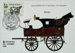Carte Maximum Yvert 2410 Journée Du Timbre 1986 - Malle Poste BRISKA - 56 VANNES - Cartes-Maximum - Stage-Coaches