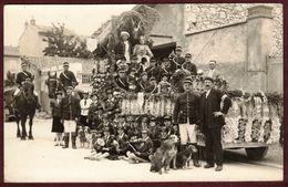 Carte Photo Oyonnax  - Fête Char Fleuri En 1930 - Char Chasse à Courre Vénerie  * Ain 01100 * - Oyonnax