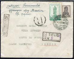 Russie - 1937 - N° 432 Et 595 Sur Enveloppe Recommandée De Tiflis Pour Menton (Fr) TB - - Storia Postale