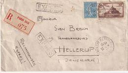 FRANCE 1932 LETTRE RECOMMANDEE DE PARIS AVEC CACHET ARRIVEE HELLERUP - 1921-1960: Moderne