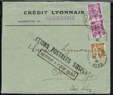 Fr -1940 - Mercures Perforés CL. Sur Env. Du Crédit Lyonnais De Valenciennes - Relations Postales Suspendues - Retour... - Perforés