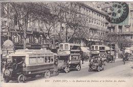 75 PARIS La Station Des Autobus  Le Boulevard Des Italiens ,autobus à étage Et Sans étage - Arrondissement: 09