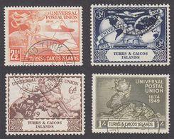 Turks & Caicos 1949 Set Of 4 Postal Union SG217 To SG220 Used - Turks And Caicos
