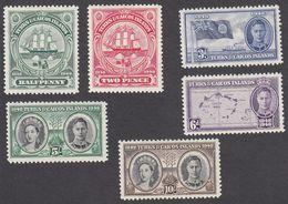 Turks & Caicos 1948  6 Values SG210 To SG213, SG215, SG216  MH - Turks And Caicos