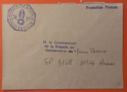 """Griffe """"FRANCHISE POSTALE"""" Sur Courrier Gendarmerie - 59- Brigade De  LILLE - - Autres"""