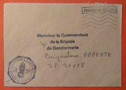"""Griffe """"FRANCHISE POSTALE"""" Sur Courrier Gendarmerie - 58 - Brigade De GUERIGNY - Flamme Muette SANS BLOC DATEUR - Autres"""