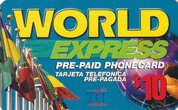 USA - Flags, World Express, TCI By RSL Com Prepaid Card $10, Used - Etats-Unis