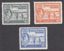 Turks & Caicos 1938  3 Values  2d, 21/2d, 3d,    SG198, SG199, SG200,    MH - Turks And Caicos