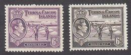 Turks & Caicos 1938  2 Values  6d    SG201, SG201a    MH - Turks And Caicos