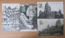 Cambodge (Indochine) - ANGKOR-VAT - 4 Cartes Postales Circulées En 1910 - Cambodge