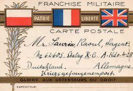 CP- Franchise Militaire-  3 Drapeaux - - Guerra Del 1939-45
